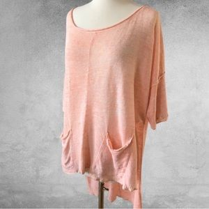 FREE PEOPLE Light Bright High-Low Sweater Coral M